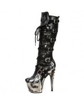 Black and silver leather boot New Rock M.DEVIL003-C1