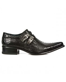 Black leather shoes New Rock M.2246-S21
