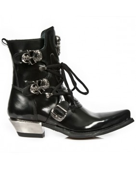 Black leather boots New Rock M.WST001-C1