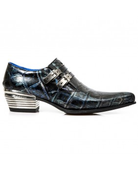 Blue and black leather shoes New Rock M.2246-C37