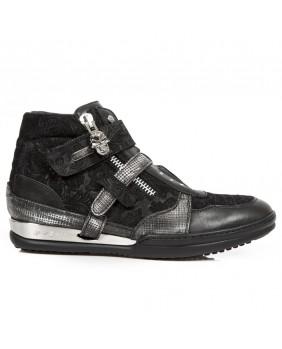 Sneakers alte acciaio e nera in pelle New Rock M.HY032-S1