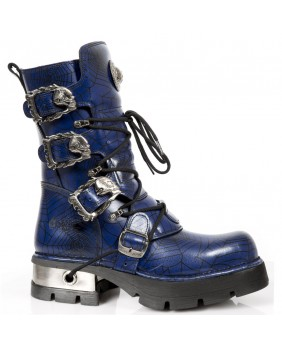Botte bleue en cuir New Rock M.391-C16