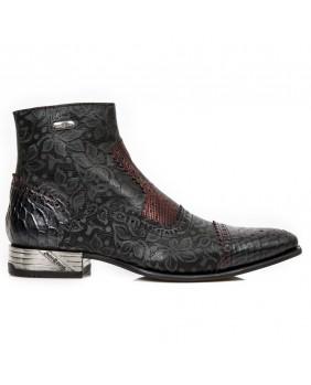 Boots noire et rouge en New Rock M.NW133-C9