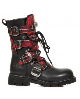 Black and red leather boot New Rock M.1473T-C1