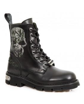 Rangers noire et verte en cuir New Rock M.MILI120-C5