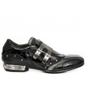 Steel and black leather sneakers New Rock M.2715-C13
