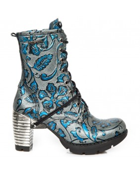 Blue and grey leather ankle boots New Rock M.TR001-S8