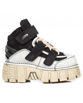 Chaussure montante noire et grise en nubuck New Rock M.285-C22