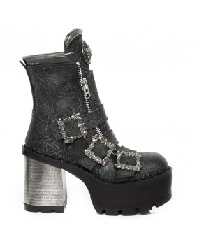 Black leather ankle boots New Rock M.SEVE23-C5