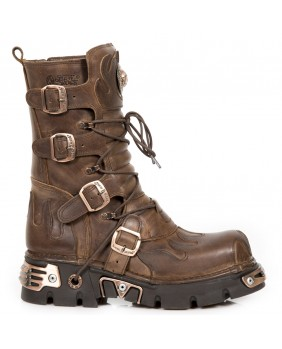 Botte marron en cuir New Rock M.591-C45