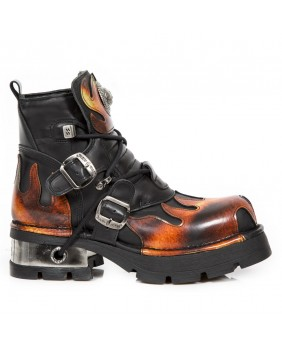 Black and orange leather ankle boots New Rock M.288-C4