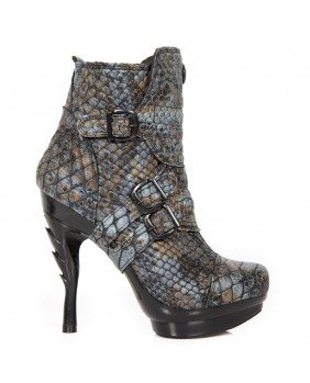 Blue leather ankle boots New Rock M.PUNK098X-S4