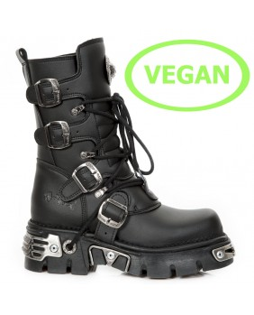 Botte noire en cuir Vegan New Rock M.373-S7