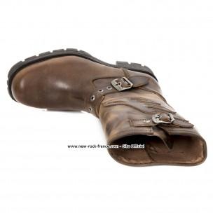 Botte marron en cuir new rock m.7601 c5 Ancien modèle New
