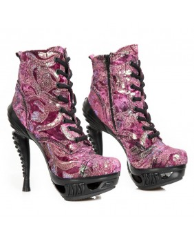 Bottine fuschia en cuir et synthétique New Rock M.MAG016-S29