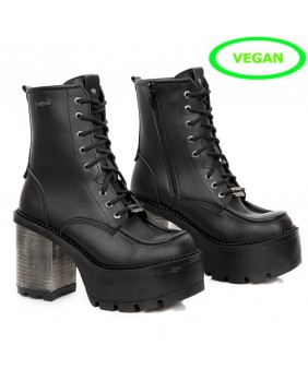 Black Vegan leather ankle boots New Rock M.SEVE06-V1