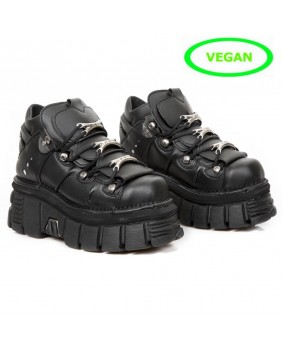 Black Vegan leather ankle boots New Rock M.106-VC3