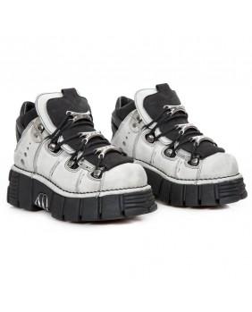 Chaussure montante grise et noire en cuir et nubuck New Rock M.106-C50