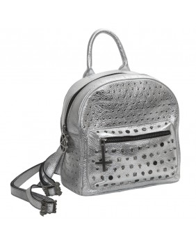 Sac à dos en cuir argent New Rock M.BACKBAG08-S2