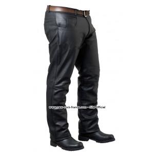 New Soft Black Napa Cuir Jeans Pour Hommes Haute Qualité moutons Motardes en Cuir Pantalon