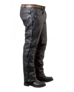 Pantalon à lacets cuir de vachette noir