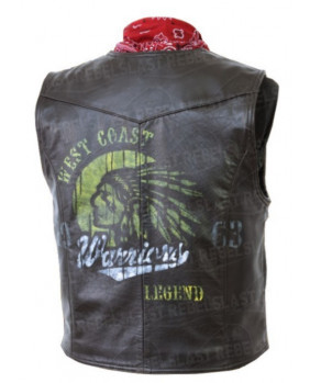 Gilet vintage en cuir de buffle Warriors