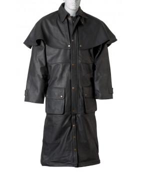 Manteau Australien cuir vachette noir