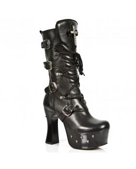 Stivali nera in pelle New Rock M.DK025-C10