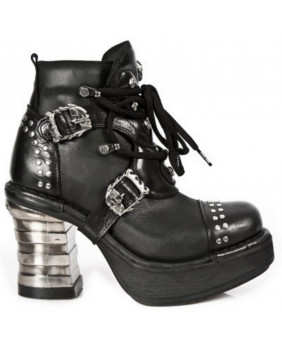 Black leather ankle boots New Rock M.8352-C1