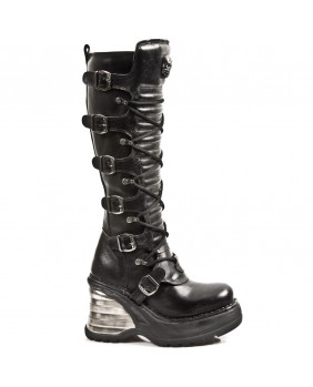Black leather boot New Rock M.8272-S1