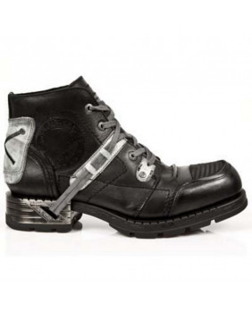 Calçado negra e cinzenta en couro New Rock M.MR015-C3