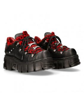 Chaussure noire et rouge en cuir et fourrure bovine New Rock M-120N-S10