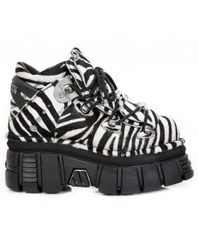 Scarpe alte bianca e nera in pelle e pelliccia bovina New Rock M-106-S31