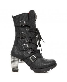 Botte noire en cuir imitation python New Rock M-TR003-C18