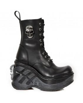Botte plateforme noire en cuir New Rock M-SP9843-C4