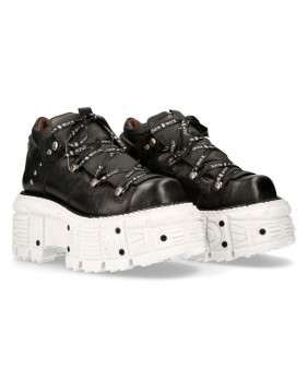 Chaussure compensée noire et blanche en cuir New Rock M-TANK106NLACE-C4