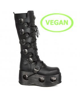 Stivali piattaforma nera in pelle Vegan New Rock M-272-VC2