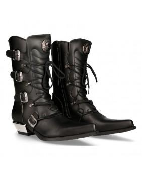 Black Vegan leather cowboy boots New Rock M-7993-V1