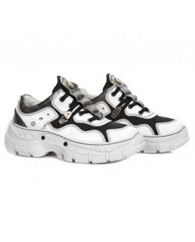 Sneakers bianca e nera in pelle e nubuck New Rock M-CRASH001-C12