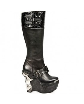 Black leather boot New Rock M.PZ007-C1